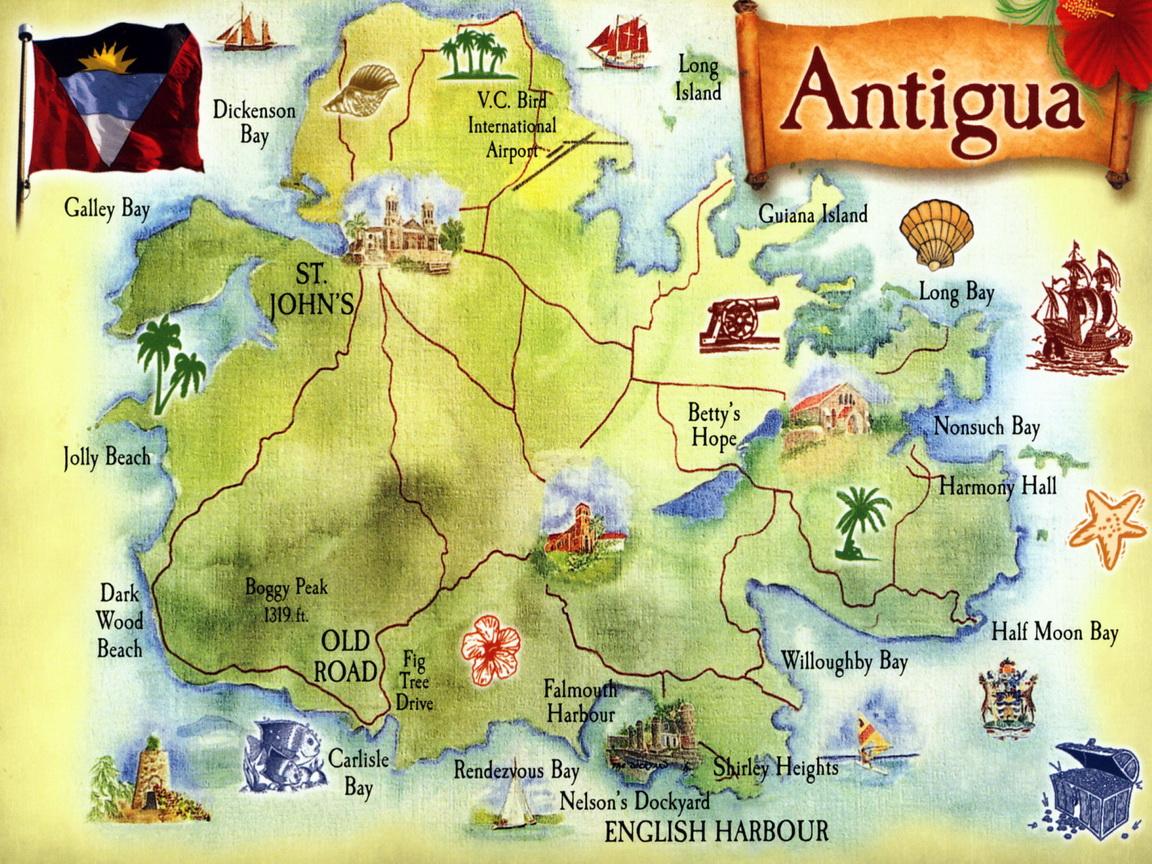 pohled s mapkou Antiguy