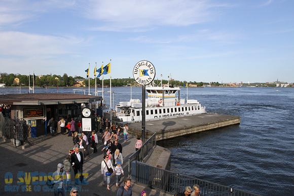 Nástup na lodě přepravující na ostrov Djurgården