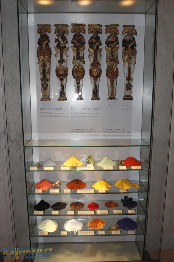 Vasa Muzeum. Přírodní materiály, které se používaly na výrobu barev.