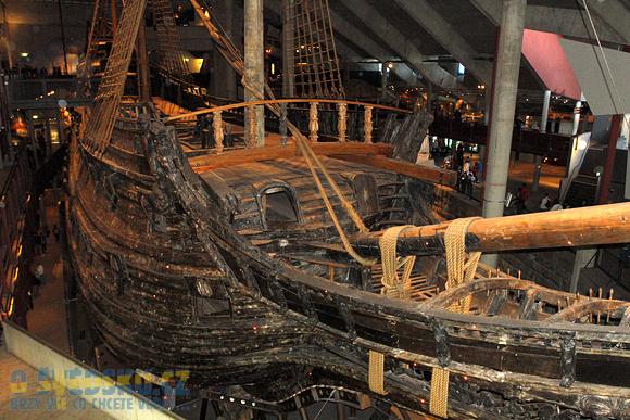 Vasa Muzeum. Záď lodi Vasa.