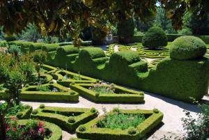 V dolní zahradě zámku Mateus jsou keře sestříhány do geometrických tvarů