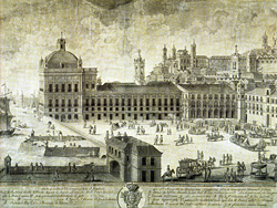 Královský palác Paço da Ribeira na dobovém vyobrazení